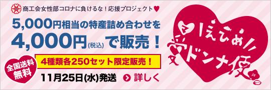 えひめ愛ドンナ便 5,000円相当の特産詰め合わせを4,000円(税込)で販売! 4種類各250セット限定販売!11月25日(水)発送 全国送料無料